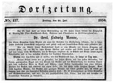 """Todesanzeige in der """"Dorfzeitung"""" am 21. Juli 1854"""
